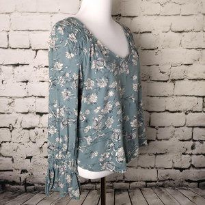 Lucky Brand Teal and White Floral Blouse